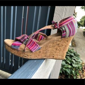 Toms Colorful Striped Cork Strappy Wedge Sz 9.5